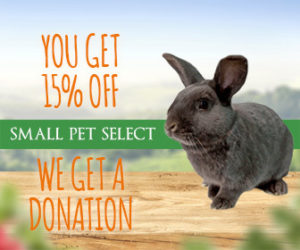 15% order discount offer from Small Pet Select for rabbit and small pet supplies
